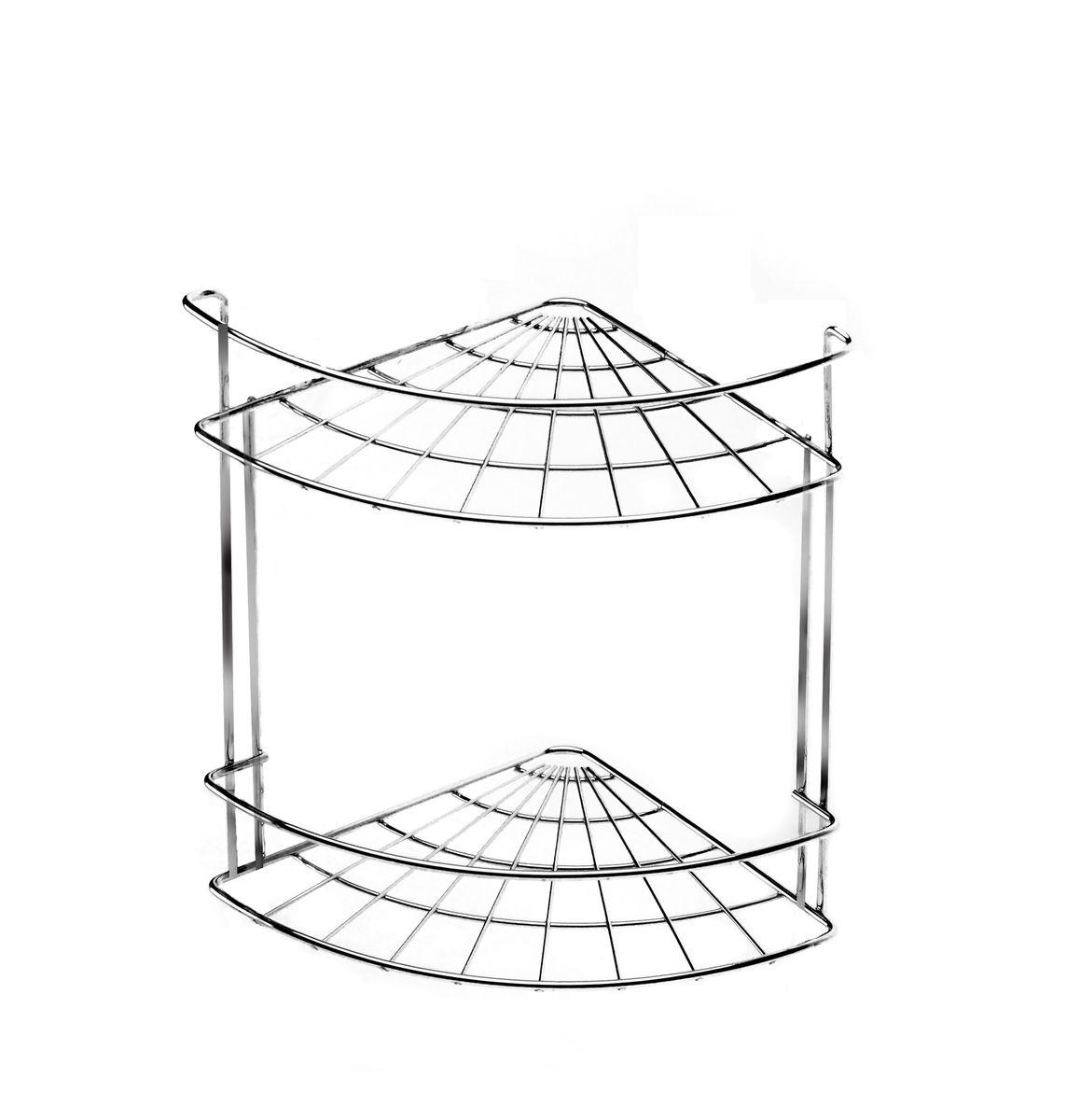 """Полка для ванной комнаты Vanstore """"Slim"""", 2-ярусная, угловая, подвесная, высота 25 см"""