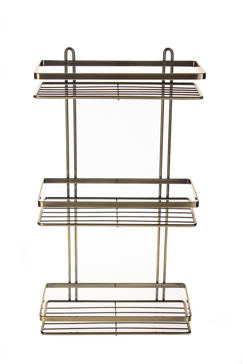 Полка для ванной комнаты Vanstore Modern, 3-ярусная, прямая, цвет: бронза, высота 46 см подвесная полка под телевизор купить
