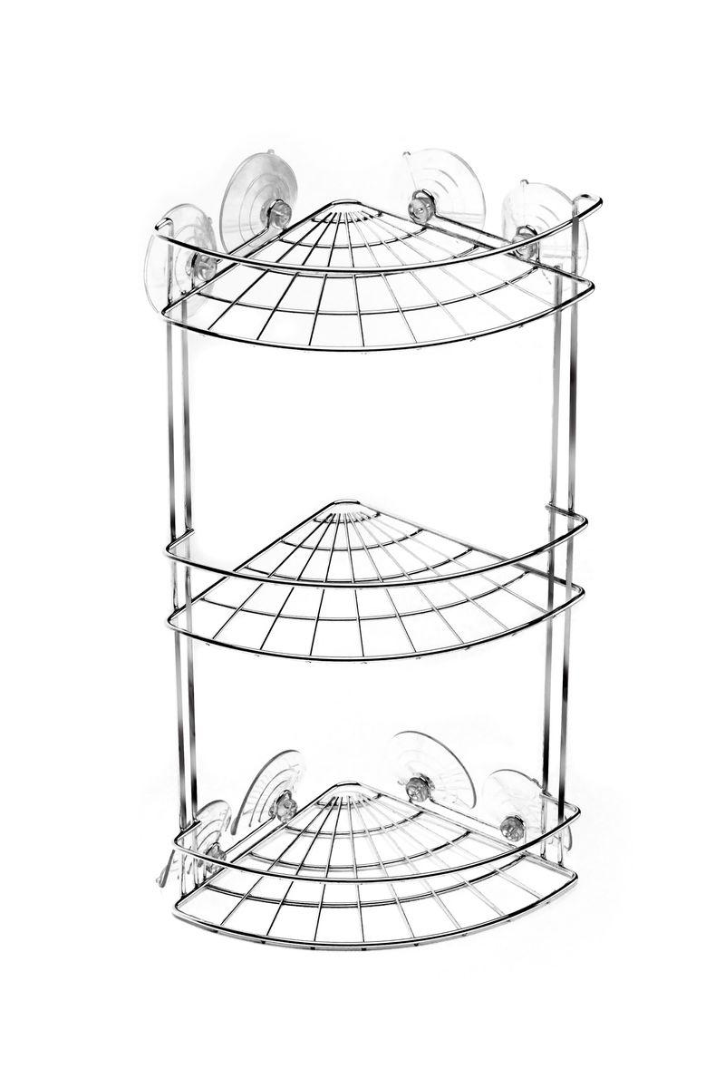 Полка угловая Vanstore Neo, на присосках, 3-ярусная, высота 45 см полка угловая tatkraft vacuum screw conrad 3 х ярусная 17 х 17 х 54 см
