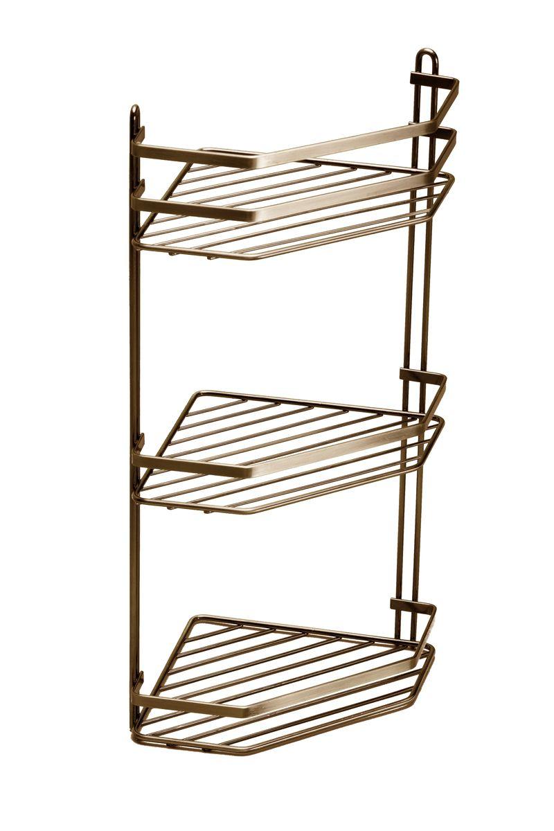 """Полка для ванной комнаты Vanstore """"Modern"""", 3-ярусная, угловая, цвет: бронза, высота 50 см"""