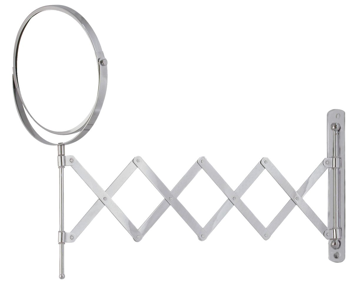 Зеркало косметическое Vanstore, раскладное, диаметр 17 см502-90Двустороннее выдвижное зеркало Vanstore изготовлено из хромированной стали. Выдвигается на 55 см, дизайн крепления выполнен в виде гармошки. Геометрические искажения отсутствуют. Одна сторона имеет увеличение. Крепится на стену с помощью 2 шурупов (входят в комплект).Диаметр зеркала: 17 см.Максимальная длина раскладывания: 55 см.