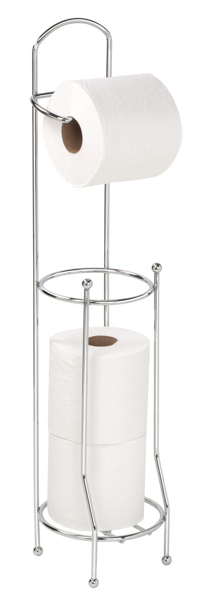 """Держатель для туалетной бумаги """"Axentia"""" оснащен накопителем для 3 стандартных рулонов.  Изготовлен из высококачественной хромированной стали, устойчивой к проявлению коррозии.  Стильный дизайн украсит интерьер вашей туалетной комнаты."""