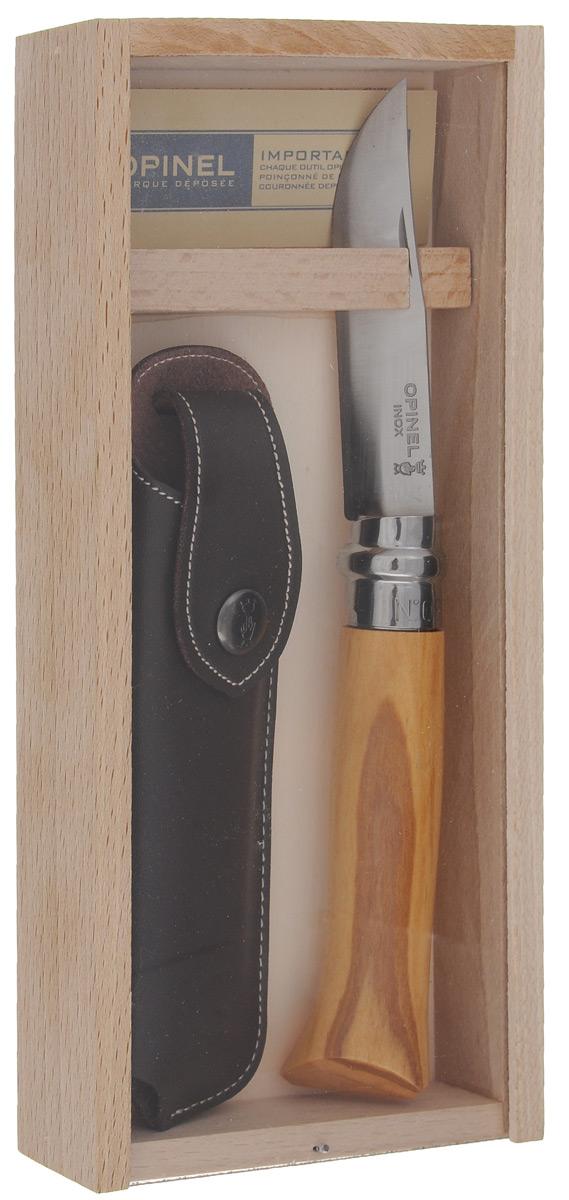Нож Opinel No 8, с чехлом, длина лезвия 8,5 см1004Нож Opinel No 8 с лезвием из нержавеющей стали станет идеальным карманным ножом для пикника, барбекю, походов, охоты и рыбалки. Нержавеющая сталь не требует ухода, но ее сложнее заточить до нужной остроты. Viroblock - оригинальное запорное устройство, представляющее собой кольцо с прорезью, которое, будучи повернуто относительно оси ножа, упирается в пятку клинка и не дает ножу самопроизвольно складываться при работе или раскладываться в кармане. Конструкция эта защищена патентом и устанавливается на ножи Opinel с 1955 года, начиная с модели No 6.Характеристики ножа:Материал лезвия: сталь Sandvik 12C27.Материал рукояти: оливковое дерево.Тип ножевого замка: Viroblock.Приспособление для открытия клинка: насечка на лезвии.Длина лезвия: 8,5 см.Длина ножа: 19 см.Ширина лезвия: 1,7 см.Длина в сложенном положении: 11 см.Вес: 60 г.Материал чехла: натуральная кожа.Размер чехла: 14,5 х 4,2 х 2 см.