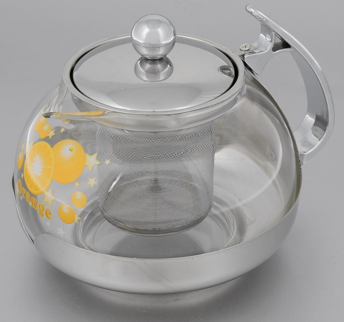 Чайник заварочный Mayer & Boch Orange, с фильтром, 700 мл2023Заварочный чайник Mayer & Boch Orange, выполненный из жаропрочного стекла и нержавеющей стали, практичный и простой в использовании. Он займет достойное место на вашей кухне и позволит вам заварить свежий, ароматный чай. Чайник оснащен сетчатым фильтром, который задерживает чаинки и предотвращает их попадание в чашку, а прозрачные стенки дадут возможность наблюдать за насыщением напитка. Заварочный чайник Mayer & Boch Orange послужит хорошим подарком для друзей и близких.Диаметр чайника (по верхнему краю): 7,5 см.Высота чайника (без учета крышки): 9,5 см.Высота фильтра: 6,5 см.Объем: 700 мл.