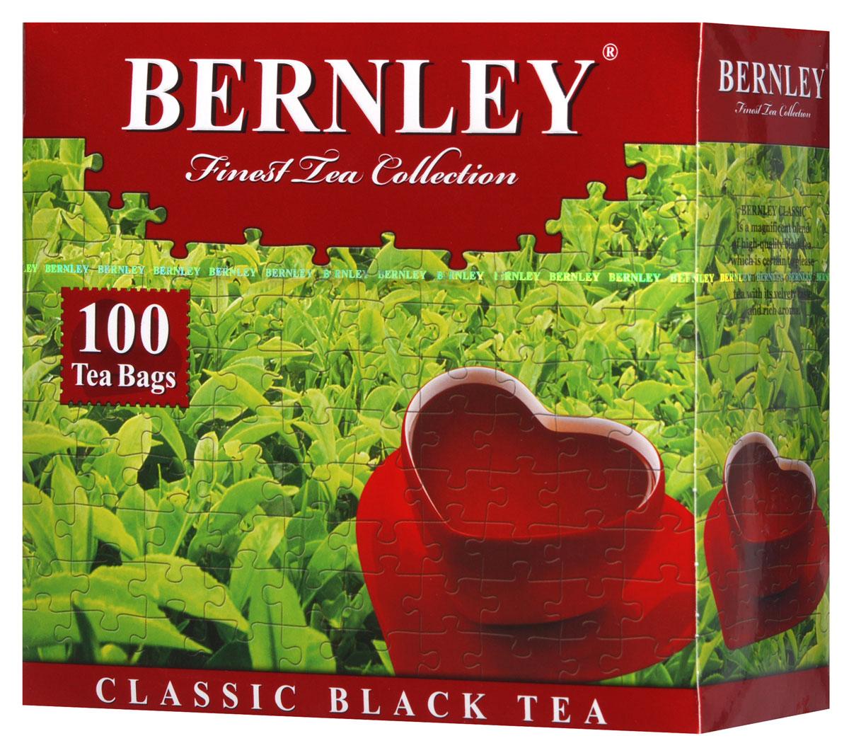 Bernley Классический черный чай в пакетиках, 100 шт1070058Пакетированный черный индийский чай Bernley Классический при заваривании дает крепкий настой яркого цвета с отлично тонизирующим вкусом и неповторимым насыщенным ароматом.