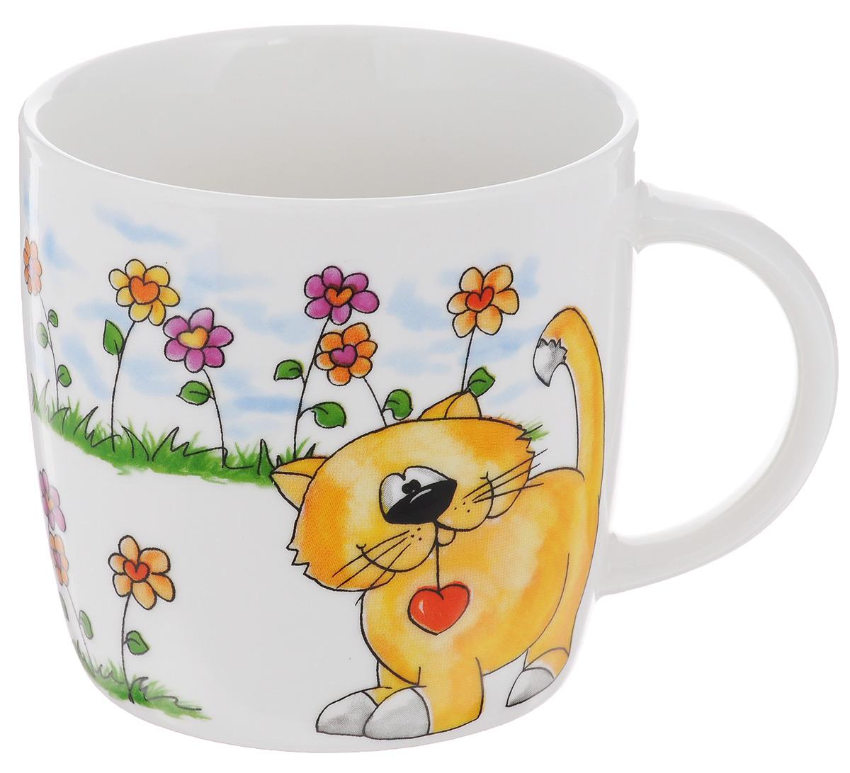 Кружка Elan Gallery Оранжевый кот, цвет: белый, зеленый, оранжевый, 250 мл кружки elan gallery кружка 5000 рублей