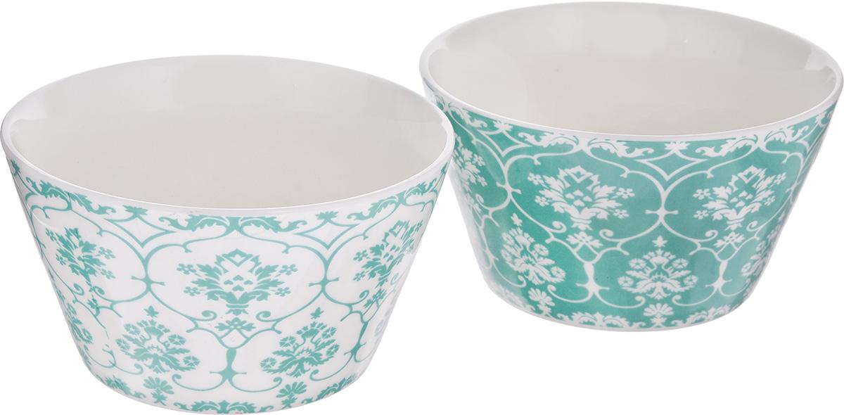 Набор салатников Elan Gallery Орнамент, цвет: белый, бирюзовый, 500 мл, 2 шт термопот scarlett sc et10d11