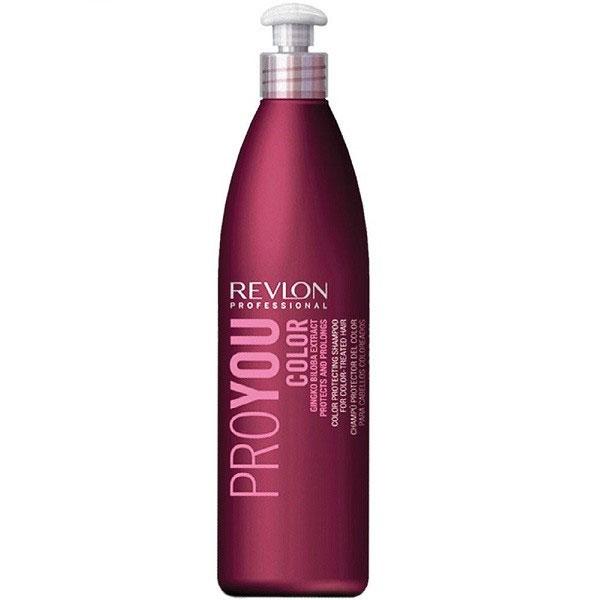 Revlon Professional Pro You Шампунь для сохранения цвета окрашенных волос Color Shampoo 350 мл7203142000Шампунь Revlon Pro You Color предназначен для сохранения цвета окрашенных, мелированных и обесцвеченных волос. Ваши волосы не потускнеют, по-прежнему демонстрируя окружающим насыщенный цвет и богатство всех его оттенков. В состав шампуня входят UVA/UVB фильтры, защищающие красящий пигмент от воздействия солнечных лучей и экстракт Ginko Biloba стимулирующий обменные реакции и процессы кожного покрова головы. Восстанавливающие компоненты шампуня очищают чешуйчатую структуру волос и сохраняют их цвет на протяжении долгого времени.