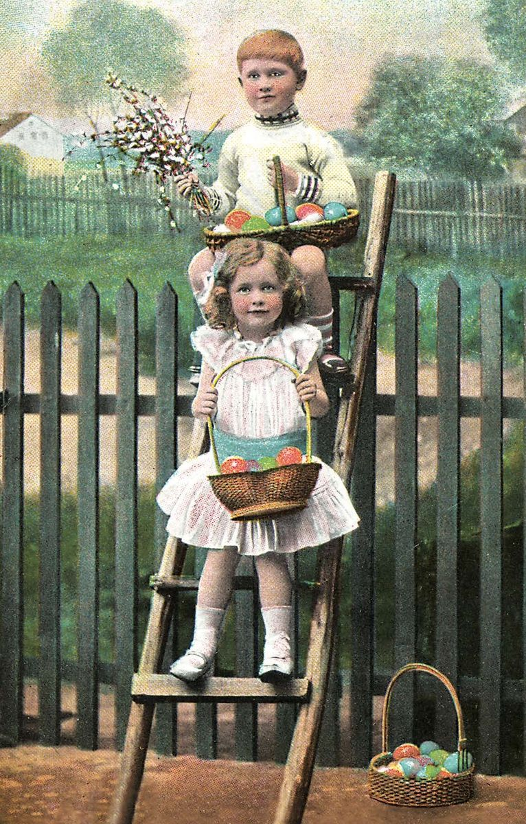 Поздравительная открытка в винтажном стиле Пасха, №93ОТКР №93Поздравительная открытка в винтажном стиле