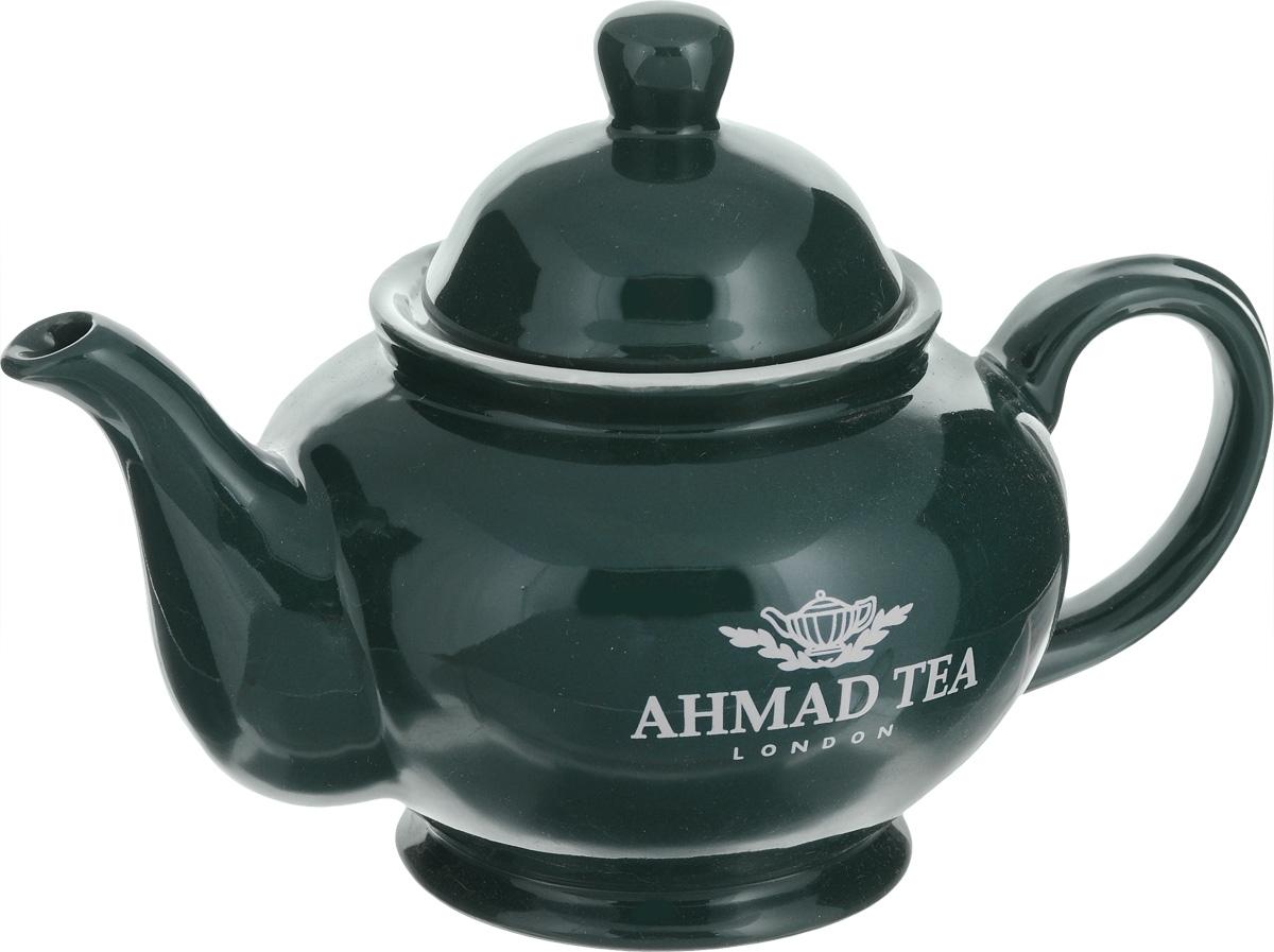 """Заварочный чайник """"Ahmad Tea"""" изготовлен из керамики и покрыт глазурью. Посуда оформлена надписями """"Ahmad Tea"""" и """"London"""". Такой чайник идеально подойдет для заваривания чая. Он хорошо держит температуру, что способствует более полному раскрытию цвета, аромата и вкуса чайного букета.   Изделие прекрасно дополнит сервировку стола к чаепитию и станет его неизменным атрибутом.     Объем: 800 мл.  Размер (по верхнему краю): 9 см х 9 см.  Диаметр по верхнему краю (внутренний): 6,5 см.   Высота стенки (без учета крышки): 10 см."""