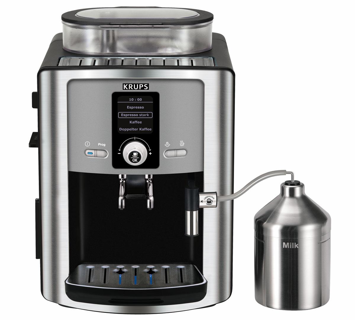 Krups EA8050PE Compact Espresseria кофемашинаEA8050Krups EA8050PE Compact Espresseria - компактная автоматическая кофемашина, которая приготовит ароматныйзерновой кофе по вашему вкусу. На панели управления можно установить крепость и температуру кофе посвоему вкусу, а также выбрать большую или маленькую порцию напитка от 20 до 220 мл. Регулируемыйкофейный дозатор на две порции позволяет установить высоту чашки от 60 до 105 мм.АвтокапучинаторДанная модель имеет специальное паровое сопло для подачи пены или горячего молока. Капучино или кофелатте – нажатием кнопки: молоко автоматически всасывается из контейнера, нагревается и смешивается,молочная пена или горячее молоко наливаются непосредственно в чашку.Фильтр для водыЭффективность работы фильтра основана на запатентованной технологии принцип восходящего потока:фильтр активизируется только тогда, когда вода начинает всасываться помпой. Смягчает жесткую воду,снижает содержание вредных примесей в воде, влияющих на вкус эспрессо (жесткость воды до 75%; хлор до 85%;свинец до 90%; медь до 95%; алюминий до 67%).Регулировка тонкости помола поворотом ключаАроматный и горячий кофе-эспрессо получится уже с самой первой чашки за счет моментального иравномерного нагрева воды и оптимальной экстракции кофе.Емкость контейнера для зерен: 275 г Контейнер для отходов Одновременное приготовление двух чашек Автоматическая декальцинация Фильтр для воды Автоматические программы по уходу Регулируемая высота дозатора для кофе Съемный лоток для сбора капель Емкость для молока 700 мл Раздельные бойлеры