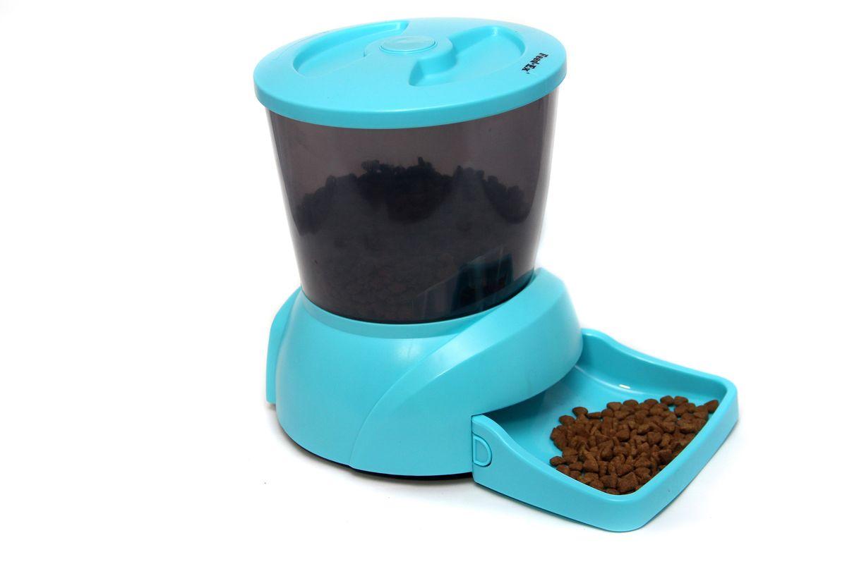 Кормушка автоматическая  Feed-Ex  для кошек и собак мелких пород, для сухого корма, цвет: голубой, 2-2,5 кг - Аксессуары для кормления