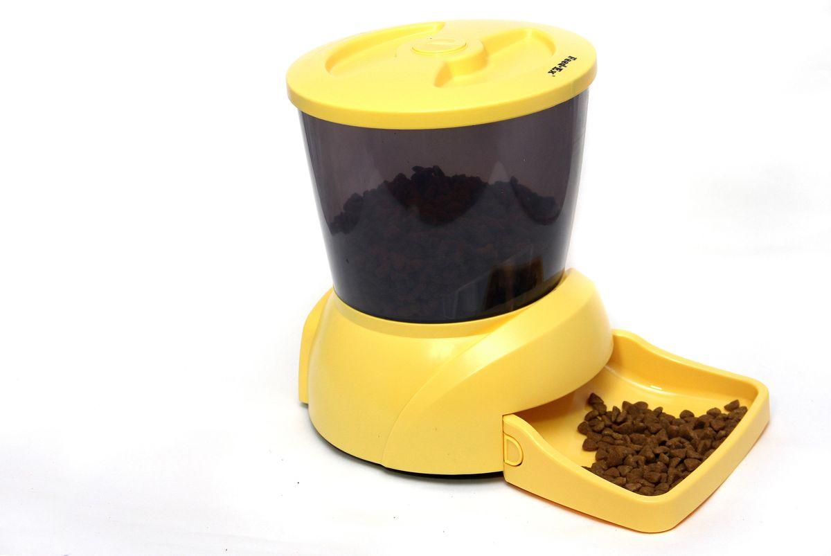 Кормушка автоматическая  Feed-Ex , для кошек и собак мелких пород, для сухого корма, цвет: желтый, 2-2,5 кг - Аксессуары для кормления