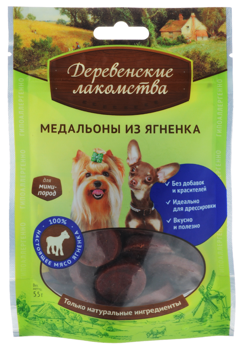 Лакомство Деревенские лакомства для собак мини-пород, медальоны из ягненка, 55 г лакомство для собак деревенские лакомства косточки из индейки для мини пород 55г