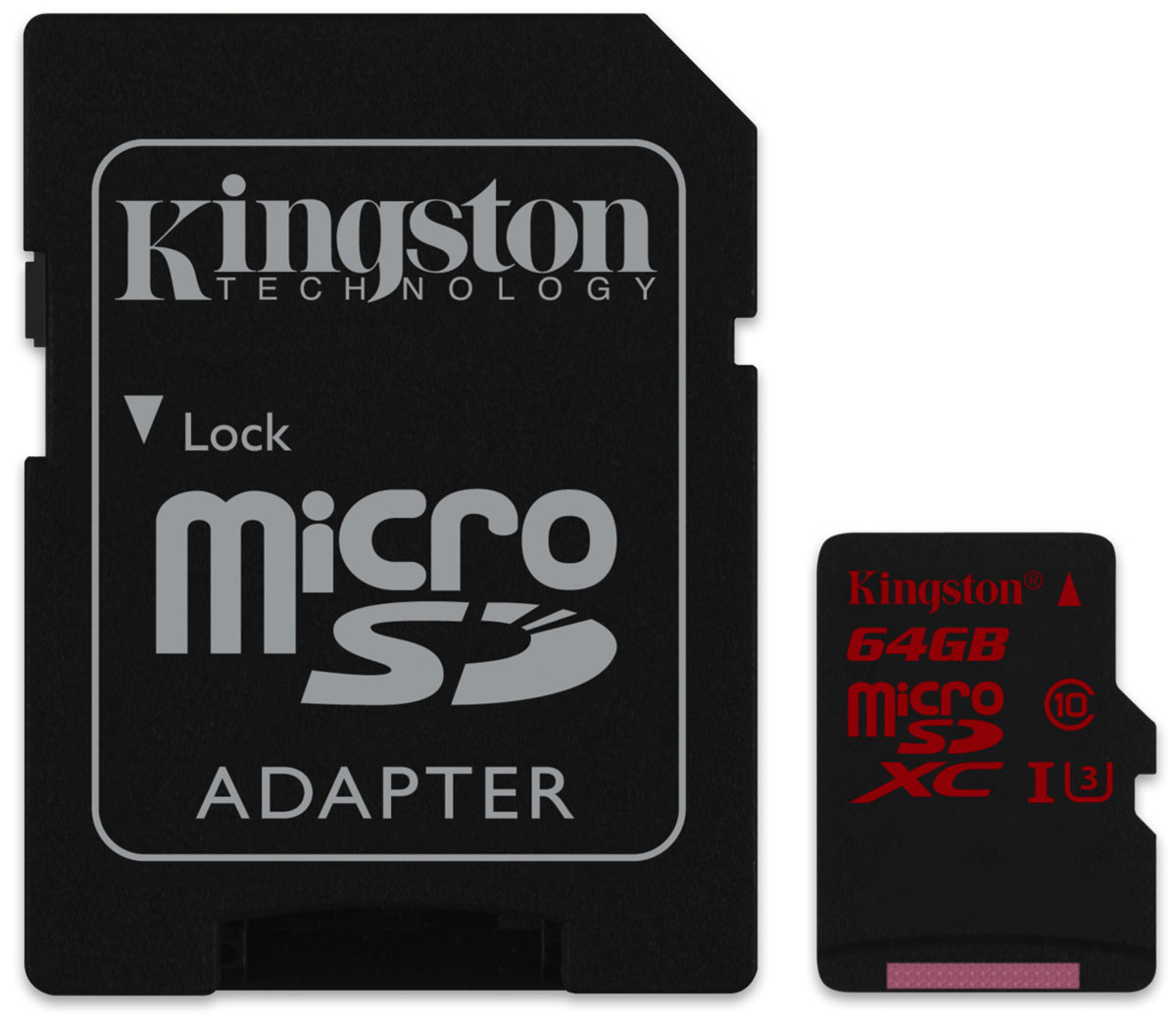 Kingston microSDXC Class 10 UHS-I U3 64GB карта памятиSDCA3/64GBКарта памяти microSDXC UHS-I U3 (Ultra High-Speed Bus, Speed Class3) компании Kingston обеспечивает впечатляющую скорость работы для записи видео кинематографического качества в формате Full HD (1080p), UltraHD (2160p), 3D и 4K2K. Они отлично подходят для высокопроизводительных компактных устройств, таких как смартфоны и портативные цифровые видеокамеры. Благодаря скорости чтения 90 МБ/с и скорости записи 80 МБ/сони позволяют быстрее редактировать и загружать файлы, в особенности при использовании устройств чтения карт памяти USB 3.0 компании Kingston, в том числе MobileLite G4 и Media Reader. Повышенные минимальные скорости записи гарантируют целостность видео благодаря снижению задержек и позволяют делать серии снимков.Компактные размеры карт памяти позволяют расширять память многих современных планшетов, смартфонов и экшн-камерЭта универсальная карта памяти водонепроницаема, ударостойка и виброустойчива, имеет защиту от рентгеновского излучения и от экстремальных температур. Фотографы могут положиться на надежностьэтой карты памяти.