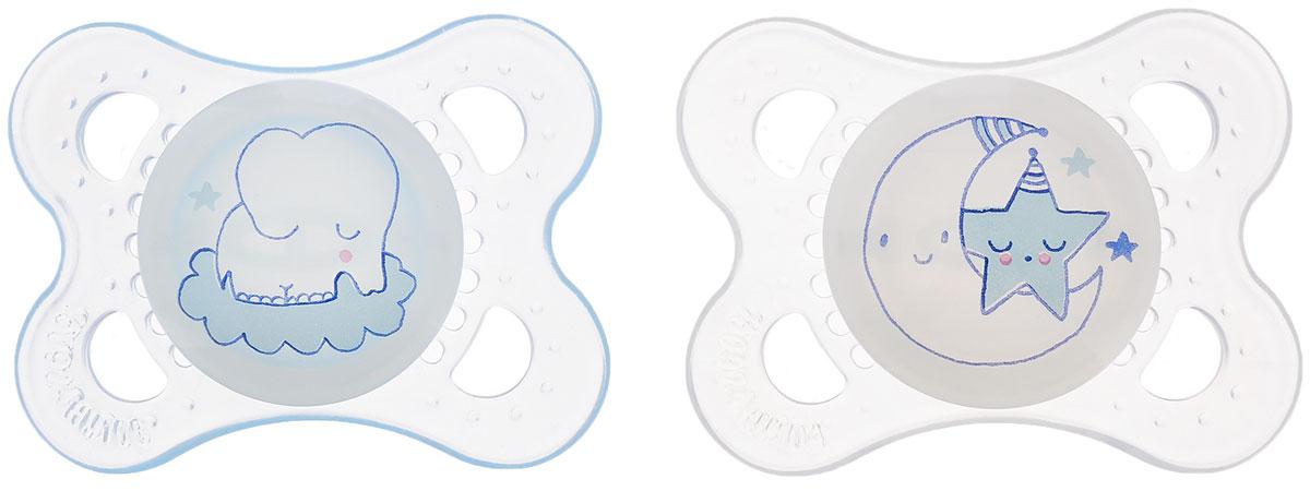 MAM Пустышка силиконовая Night от 0 месяцев цвет прозрачный светло-голубой 2 шт mam пустышка силиконовая original от 6 до 16 месяцев цвет фиолетовый прозрачный 2 шт