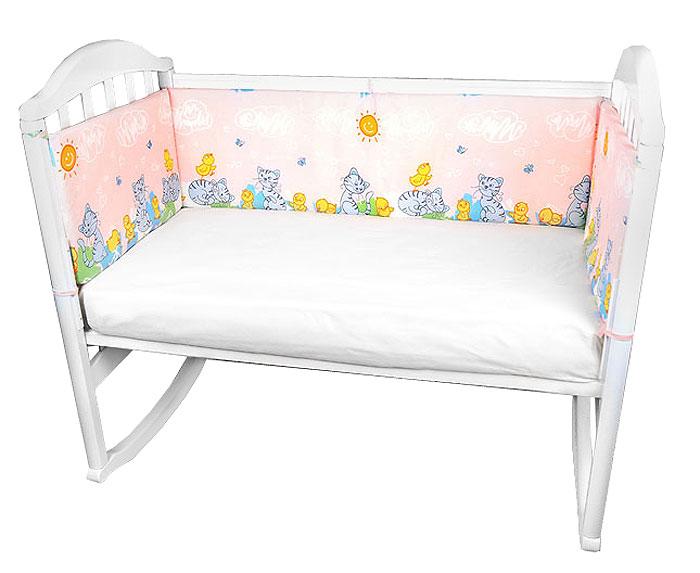 Baby Nice Бампер в кроватку Котята и цыплята цвет розовый