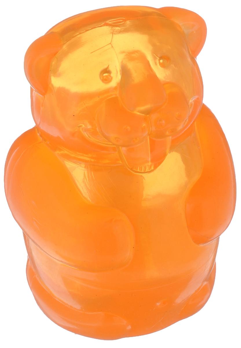 Игрушка для собак Kong Бобер, средний, с пищалкой, цвет: оранжевый, высота 7 см игрушка для собак kong регби с пищалкой цвет прозрачный фиолетовый 18 х 9 х 9 см