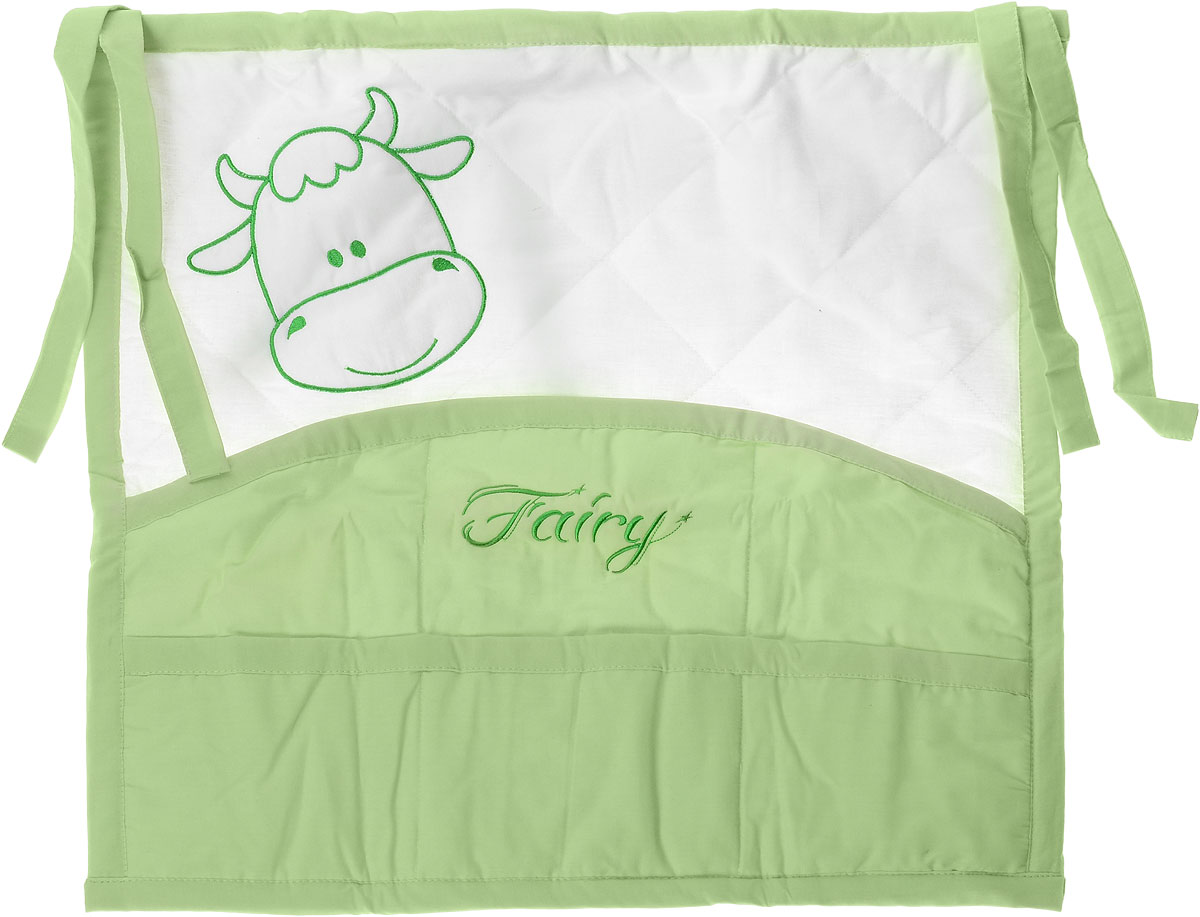 Fairy Карман на кроватку На лугу цвет белый салатовый сумка для пеленок и подгузников fairy жирафик цвет голубой 50 см х 40 см