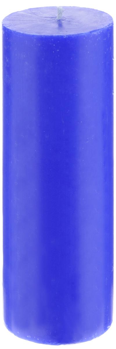 Свеча декоративная Proffi Home Столбик, цвет: синий, высота 19,5 см фигурка декоративная из искусственного камня proffi home медведь proffi