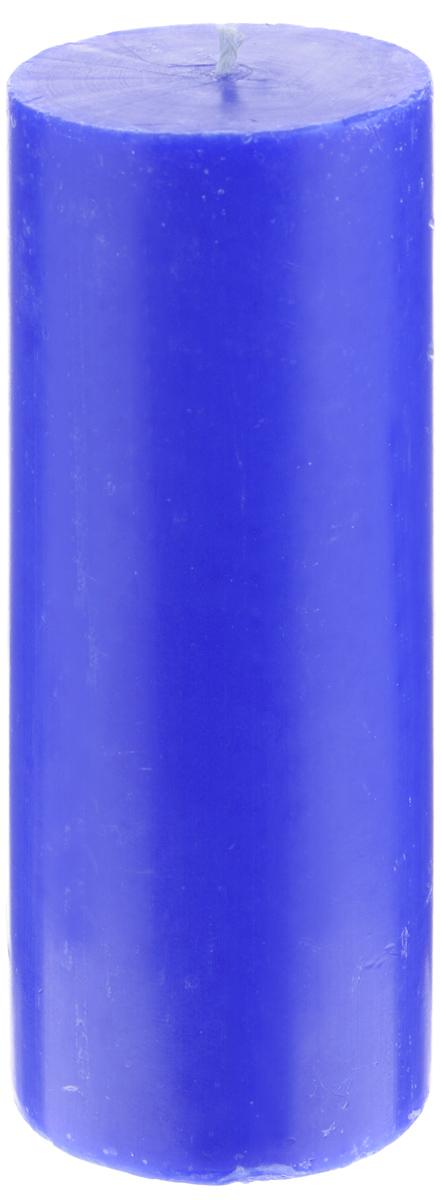 Свеча декоративная Proffi Home Столбик, цвет: синий, высота 15 см фигурка декоративная из искусственного камня proffi home медведь proffi