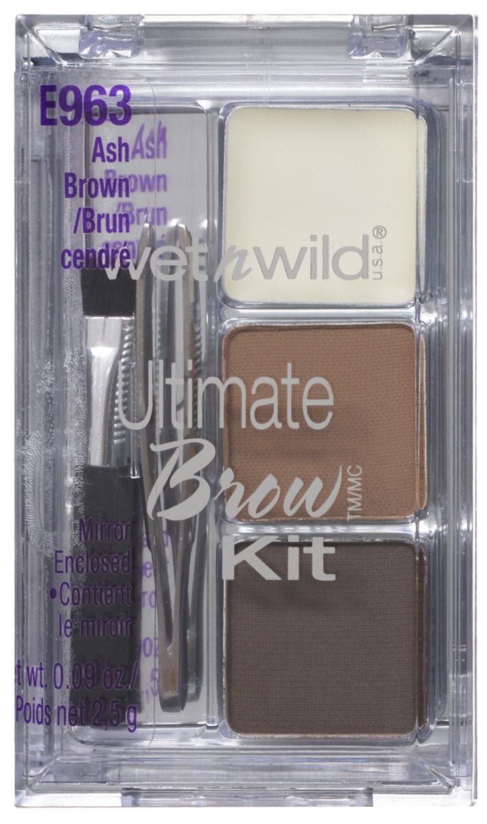 Wet n Wild Набор Для Бровей Ultimate Brow Kit ash brown 3 грE963Включает в себя встроенное зеркало. Ты можешь на ходу подправить макияж!Аккуратно аппликатором нанести на брови тени для бровей и зафиксировать результат гель-воском для бровей.