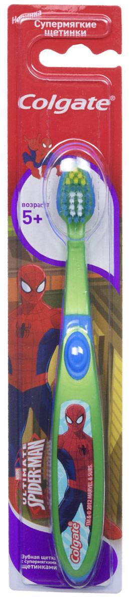 Colgate Зубная щетка Spider-man, детская, с мягкой щетиной, от 5 лет, цвет: зеленый, синий colgate зубная щетка spider man детская с мягкой щетиной цвет синий красный
