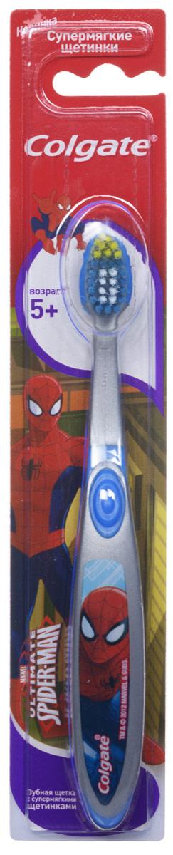 Colgate Зубная щетка Spider-man, детская, с мягкой щетиной, от 5 лет, цвет: серый, синийFCN21494_синий серыйДетская зубная щетка Colgate Spider-man предназначена для детей, у которых еще есть молочные и уже появились постоянные зубы. Разноуровневые щетинки тщательно очищают молочные и прорезывающиеся зубки. Удлиненные кончики эффективно очищают труднодоступные межзубные промежутки зубов. Удобная ручка с упором для большого пальца не скользит, обеспечивая лучший контроль. А благодаря яркому и привлекательному дизайну, ежедневная чистка зубов станет удовольствием для вашего ребенка. Товар сертифицирован.