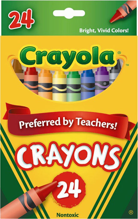 Набор разноцветных восковых мелков Crayola (Краела), 24 шт0024Набор восковых мелков Crayola состоит из 24 разноцветных мелков, которые отличаются высокой механической прочностью благодаря двойной обертке. Мелки выполнены в форме карандашей, что делает их использование очень удобным. Восковые мелки предназначены для рисования по бумаге и являются альтернативой привычным цветным карандашам. Они изготовлены из натурального пчелиного воска с добавлением растительных красок, поэтому безвредны для ребенка, даже если он попробует их на вкус. Восковые мелки отлично передают цвета и имеют широкую гамму оттенков. Восковые мелки Crayola обеспечивают качество цвета и линии на уровне лучших цветных карандашей, а в плане цены и практичности значительно выигрывают у последних.24 мелка.