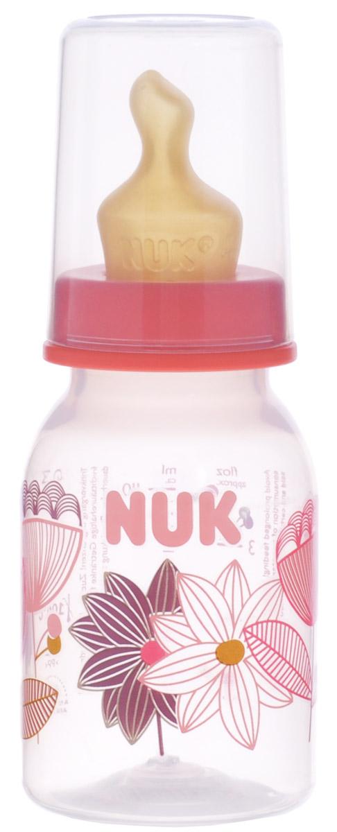 NUK Бутылочка для кормления с латексной соской от 0 до 6 месяцев 110 мл цвет коралловый