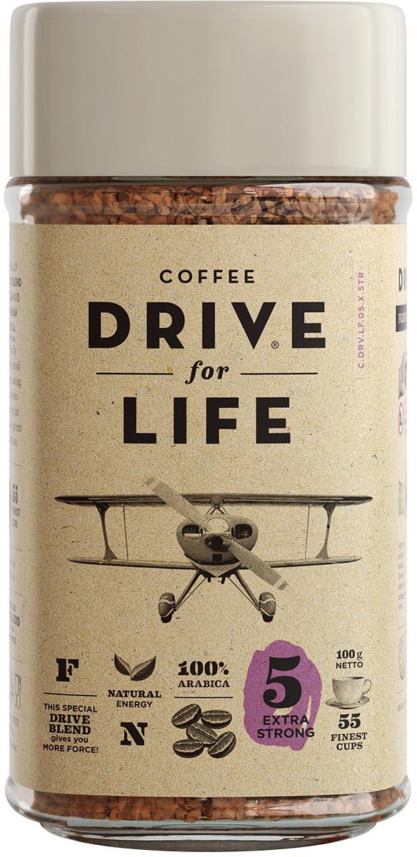 Drive for Life Extra Strong кофе сублимированный, 100 гУПП00004243Special Blend Drive - специально подобранные сорта Бразильской и Колумбийской Арабики, при обжарки которых вырабатывается натуральный кофеин высокого качества. Улучшает внимание, память и обеспечивает энергией на длительное время.Кофе: мифы и факты. Статья OZON Гид