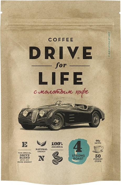 Drive for Life с молотым Strong кофе сублимированный, 90 г кофе черный парус сублимированный 85г