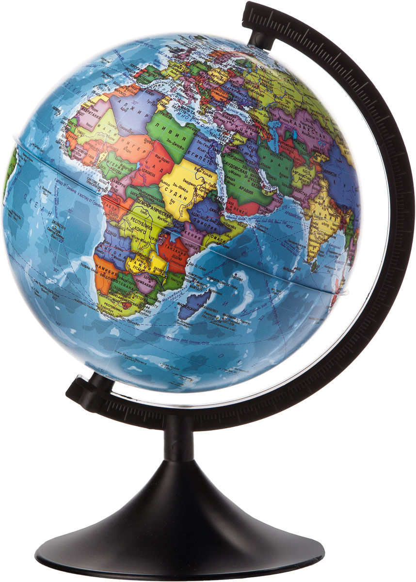 Globen Глобус Земли политический диаметр 210 мм К012100008К012100008Глобус - уменьшенная и понятная, даже детям, модель земного шара, помогает в развитии пространственного воображения и формирования правильного мировосприятия подрастающего поколения. Глобусы Globen изготавливаются из высококачественных материалов и являются отличным наглядным пособием для школьников и студентов.