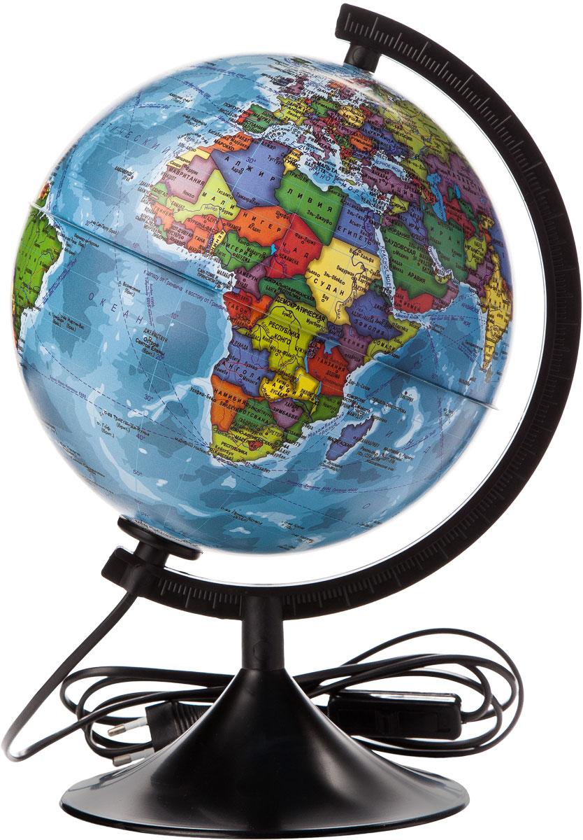 Globen Глобус Земли политический с подсветкой диаметр 210 мм К012100010К012100010Глобус - уменьшенная и понятная, даже детям, модель земного шара, помогает в развитии пространственноговоображения и формирования правильного мировосприятия подрастающего поколения. Глобусы Globen изготавливаются из высококачественных материалов и являются отличным наглядным пособиемдля школьников и студентов. Глобус имеет функцию подсветки от электрической сети. На кабеле питанияимеется переключатель.