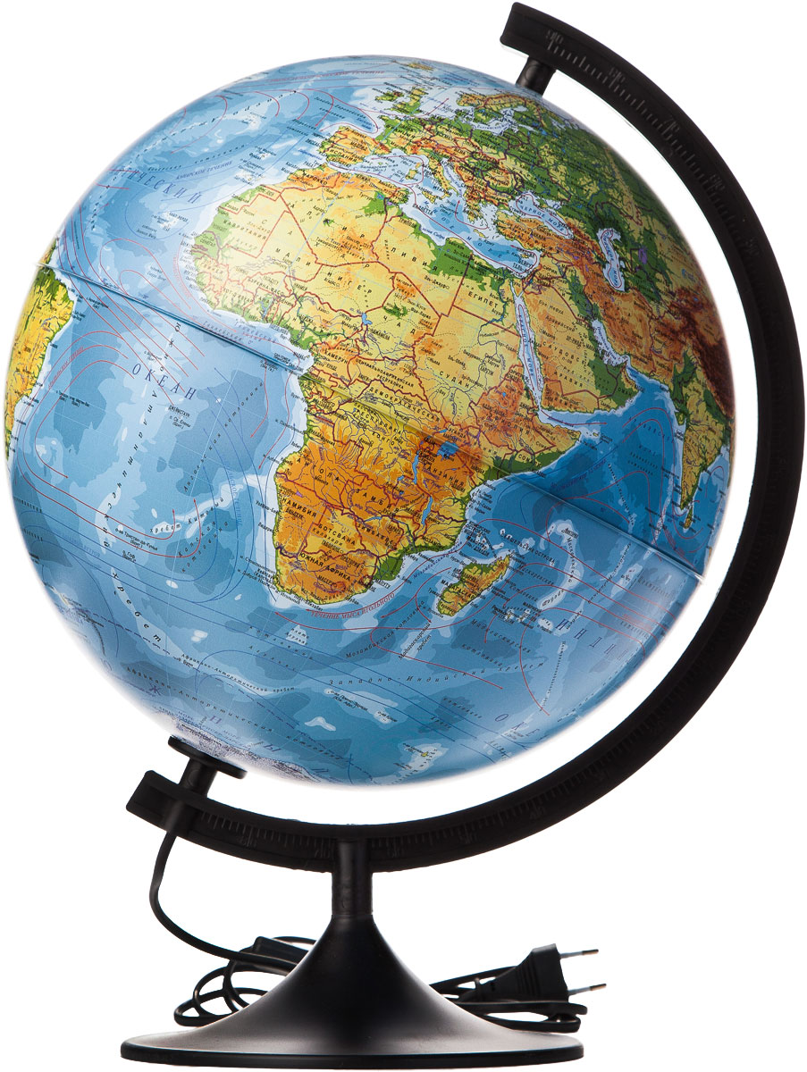 Globen Глобус Земли физический с подсветкой диаметр 320 ммК013200017Глобус - уменьшенная и понятная, даже детям, модель земного шара, помогает в развитии пространственного воображения и формирования правильного мировосприятия подрастающего поколения.Глобусы Globen изготавливаются из высококачественных материалов и являются отличным наглядным пособием для школьников и студентов. Глобус имеет функцию подсветки от электрической сети. На кабеле питания имеется переключатель.