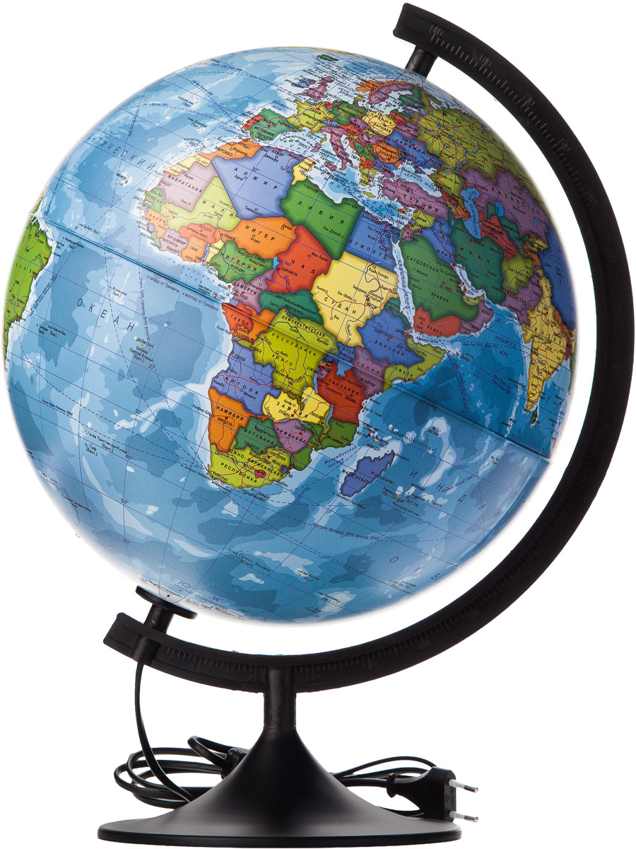 Globen Глобус Земли политический с подсветкой диаметр 320 ммК013200018Глобус - уменьшенная и понятная, даже детям, модель земного шара, помогает в развитии пространственного воображения и формирования правильного мировосприятия подрастающего поколения. Глобусы Globen изготавливаются из высококачественных материалов и являются отличным наглядным пособием для школьников и студентов. Глобус имеет функцию подсветки от электрической сети. На кабеле питания имеется переключатель.Замена лампы подсветки: Отсоедините вилку шнура питания от сетиИзвлеките верхнюю часть меридианной дуги из глобуса Снимите глобус с дуги Вывинтите лампу и замените ее исправной лампой того же вольтажа