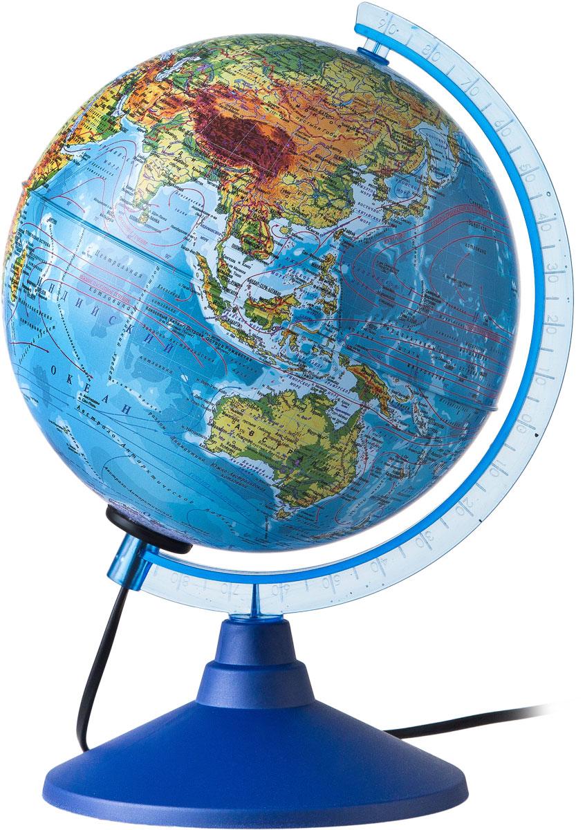 Globen Глобус Земли физический с подсветкой диаметр 150 ммКе011500199Глобус - уменьшенная и понятная, даже детям, модель земного шара, помогает в развитии пространственного воображения и формирования правильного мировосприятия подрастающего поколения. Глобусы Globen изготавливаются из высококачественных материалов и являются отличным наглядным пособием для школьников и студентов. Глобус имеет функцию подсветки от электрической сети. На кабеле питания имеется переключатель.