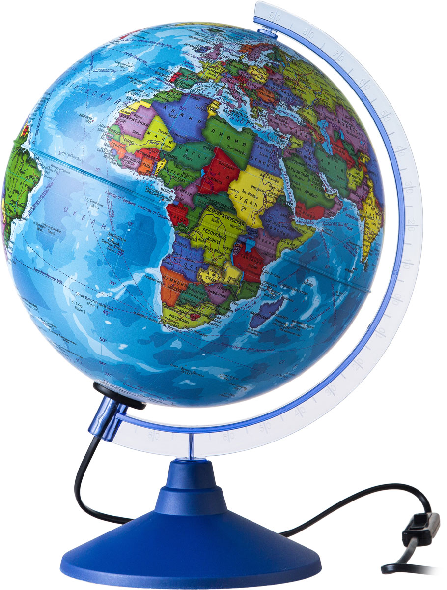 Globen Глобус Земли политический с подсветкой диаметр 250 ммКе012500190Глобус - уменьшенная и понятная, даже детям, модель земного шара, помогает в развитии пространственного воображения и формирования правильного мировосприятия подрастающего поколения. Глобусы Globen изготавливаются из высококачественных материалов и являются отличным наглядным пособием для школьников и студентов. Глобус имеет функцию подсветки от электрической сети. На кабеле питания имеется переключатель.