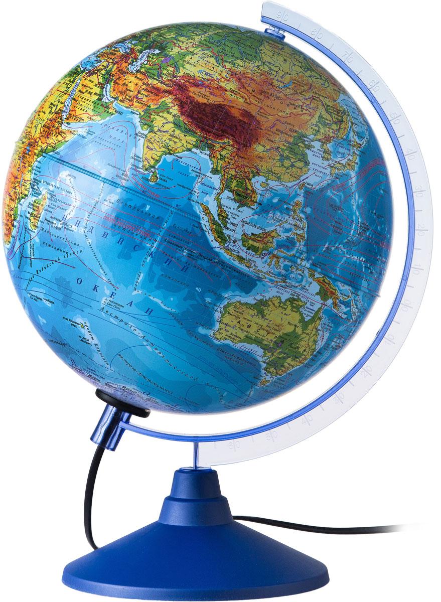 Globen Глобус Земли физико-политический с подсветкой диаметр 250 ммКе012500191Глобус - уменьшенная и понятная, даже детям, модель земного шара, помогает в развитии пространственного воображения и формирования правильного мировосприятия подрастающего поколения. Глобусы Globen изготавливаются из высококачественных материалов и являются отличным наглядным пособием для школьников и студентов. Глобус имеет функцию подсветки от электрической сети. На кабеле питания имеется переключатель.