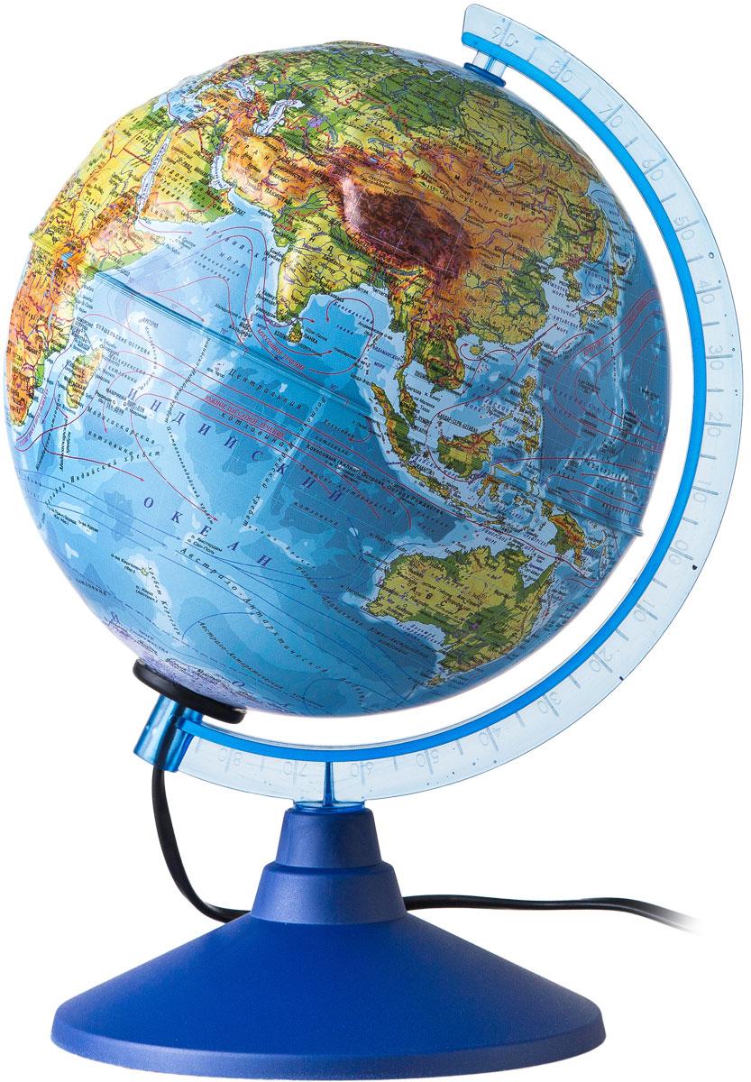Globen Глобус Земли физический рельефный с подсветкой диаметр 250 ммКе022500194Глобус - уменьшенная и понятная, даже детям, модель земного шара, помогает в развитии пространственного воображения и формирования правильного мировосприятия подрастающего поколения.Глобусы Globen изготавливаются из высококачественных материалов и являются отличным наглядным пособием для школьников и студентов. Глобус имеет функцию подсветки от электрической сети. На кабеле питания имеется переключатель.
