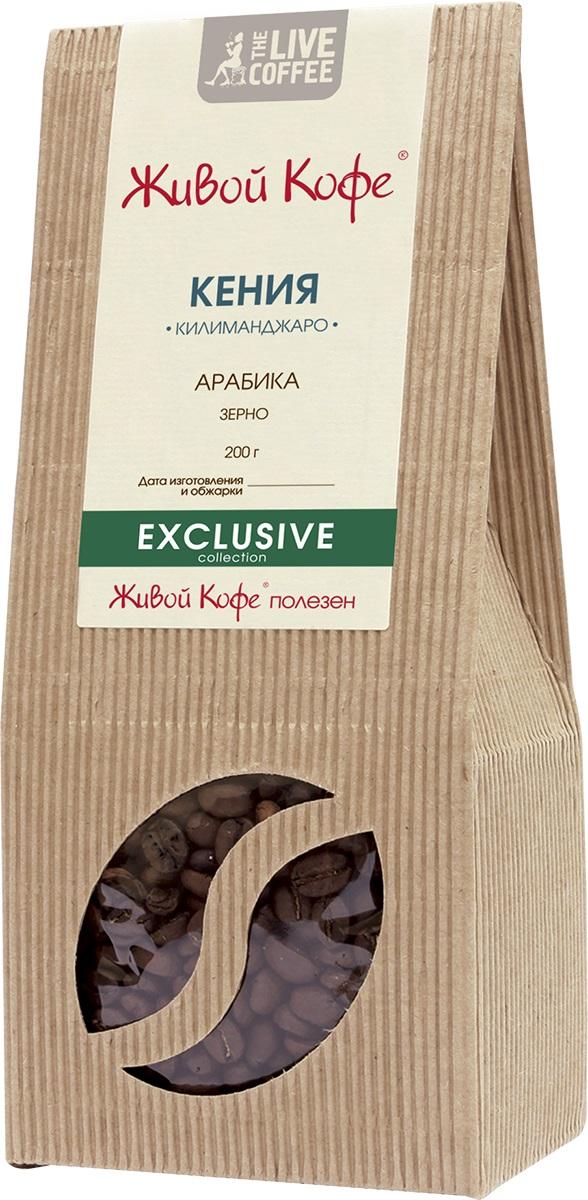 Живой Кофе Кения Килиманджаро кофе в зернах, 200 г.00000000688Живой Кофе Кения Килиманджаро - изумительный букет ягодных, лимонных и апельсиновых оттенков с легкой пряностью.Лучшим кенийским кофе считается тот, который выращен в условиях высокогорья на склонах горы Килиманджаро. Обычно кофейные деревья растут на высоте 1,3-2 км над уровнем моря. Урожай кофе Кения Килиманджаро собирается два раза в год в шесть-семь приёмов, чтобы зёрна были в меру зрелые. Весь кенийский кофе (в том числе кофе Кения Килиманджаро) закупает Кенийский совет по кофе, который классифицирует зёрна и следит за их высоким качеством.