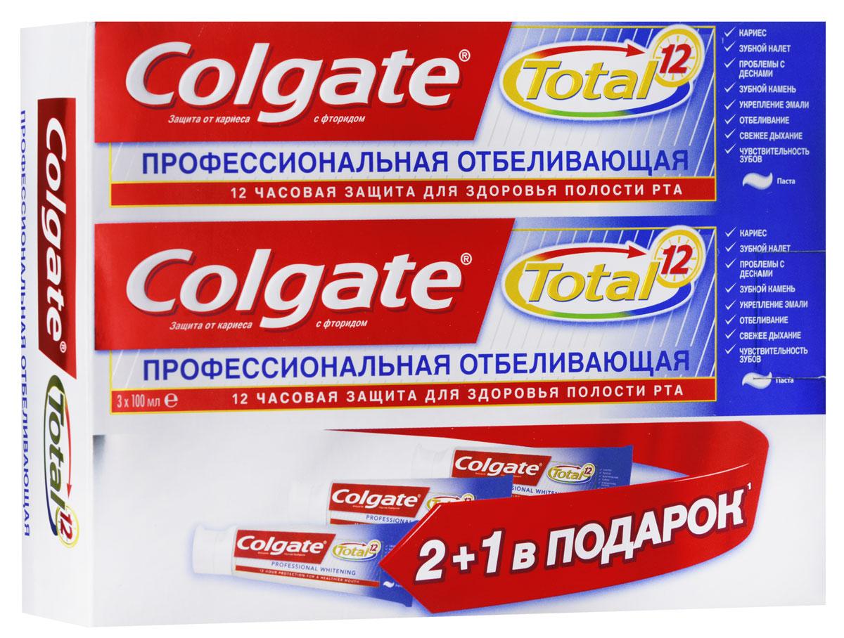 Colgate Зубная паста TOTAL12 Профессиональная отбеливающая 100 млCN00794AЗубная паста Colgate® Total Отбеливающая бережно удаляет пятна с поверхности зубов и возвращает естественную белизну вашей улыбке.
