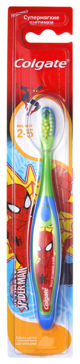 Colgate Зубная щетка Spider-man, детская, с мягкой щетиной, от 2 до 5 лет, цвет: зеленый, синийFCN21742_зеленый синийДетская зубная щетка Colgate Spider-man предназначена для детей, у которых еще есть молочные зубки. Супермягкие щетинки с закругленными кончиками обеспечат бережную очистку молочных зубов. Маленькая овальная головка с очень мягкими щетинками не травмируют эмаль, хорошо очищающих зубы от остатков пищи. Удобная ручка с упором для большого пальца не скользит, обеспечивая лучший контроль. А благодаря яркому и привлекательному дизайну, ежедневная чистка зубов станет удовольствием для вашего ребенка. Товар сертифицирован.