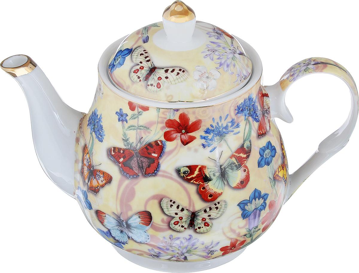 Чайник заварочный Loraine, 1,1 л. 24567КО-26003Заварочный чайник Loraine, изготовленный из высококачественной глазурованной керамики, поможет вам в приготовлении вкусного и ароматного чая, а также станет украшением вашей кухни. Изделие декорировано красочным рисунком в виде бабочек и золотистой эмалью.Яркий дизайн придает чайнику особый шарм, он удобен в использовании и понравится каждому. Такой заварочный чайник станет приятным и практичным подарком на любой праздник.Диаметр чайника (по верхнему краю): 9,5 см.Высота чайника (без учета крышки): 12,5 см.Высота (с учетом крышки): 17 см.