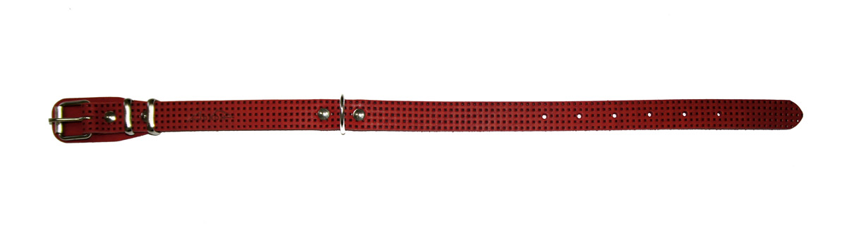 Ошейник Аркон, с тиснением, цвет: красный, ширина 20 мм, длина 32-44 см. о20фкро20фкрОшейник Аркон полностью отвечает требованиям современных мировых кинологических стандартов. Ошейник выполнен из лучшей шорно-седельной кожи, устойчивой к влажности и перепадам температур. Клеевой слой, сверхпрочные нити, крепкие металлические элементы делают ошейники от компании Аркон еще более надежными и долговечными.