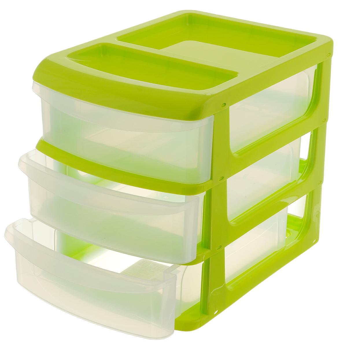 Бокс универсальный Idea, 3 секции, цвет: салатовый, прозрачный, 24,5 х 17,5 х 20 смМ 2765_салатовыйУниверсальный бокс Idea выполнен из высококачественного пластика и имеет три удобные выдвижные секции. Бокс предназначен для хранения предметов шитья, рукоделия, хобби и всех необходимых мелочей. Изделие позволит компактно хранить вещи, поддерживая порядок и уют в вашем доме.Размер бокса: 24,5 см х 17,5 см х 20 см. Размер секции: 21,5 см х 15 см х 5 см.