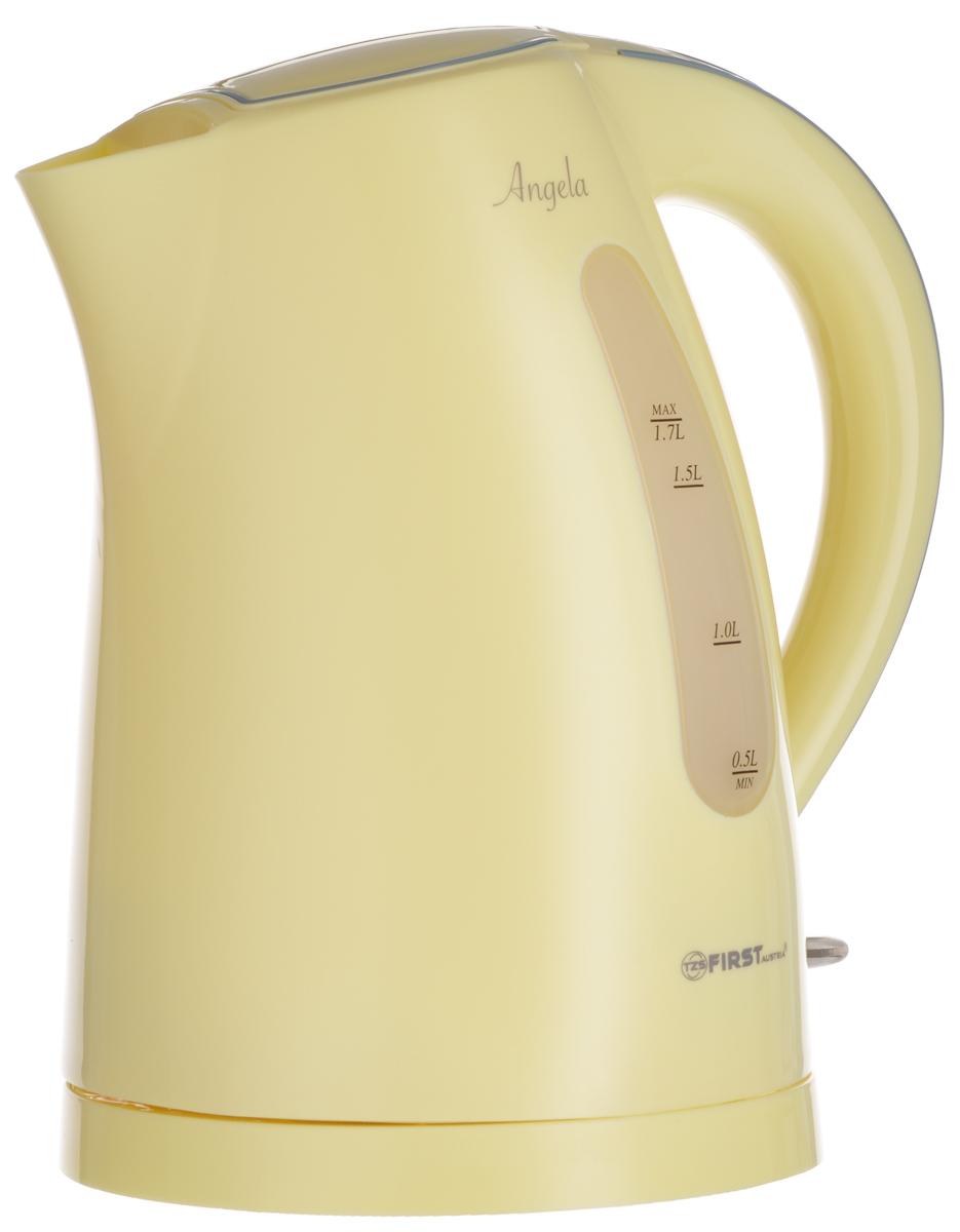 First FA-5426-3, Yellow электрический чайникFA-5426-3YellowFirst FA-5426-3 - надежный и недорогой электрочайник в корпусе из качественного пластика. Прибор оснащенскрытым нагревательным элементом и позволяет вскипятить до 1,7 литра воды. Данная модель оснащенасветоиндикатором работы, поворотной поверхностью 360° и фильтром для воды. Для обеспечения безопасностипри повседневном использовании предусмотрены функция автовыключения, защиты от перегрева, а такжекнопка мягкого открытия крышки.