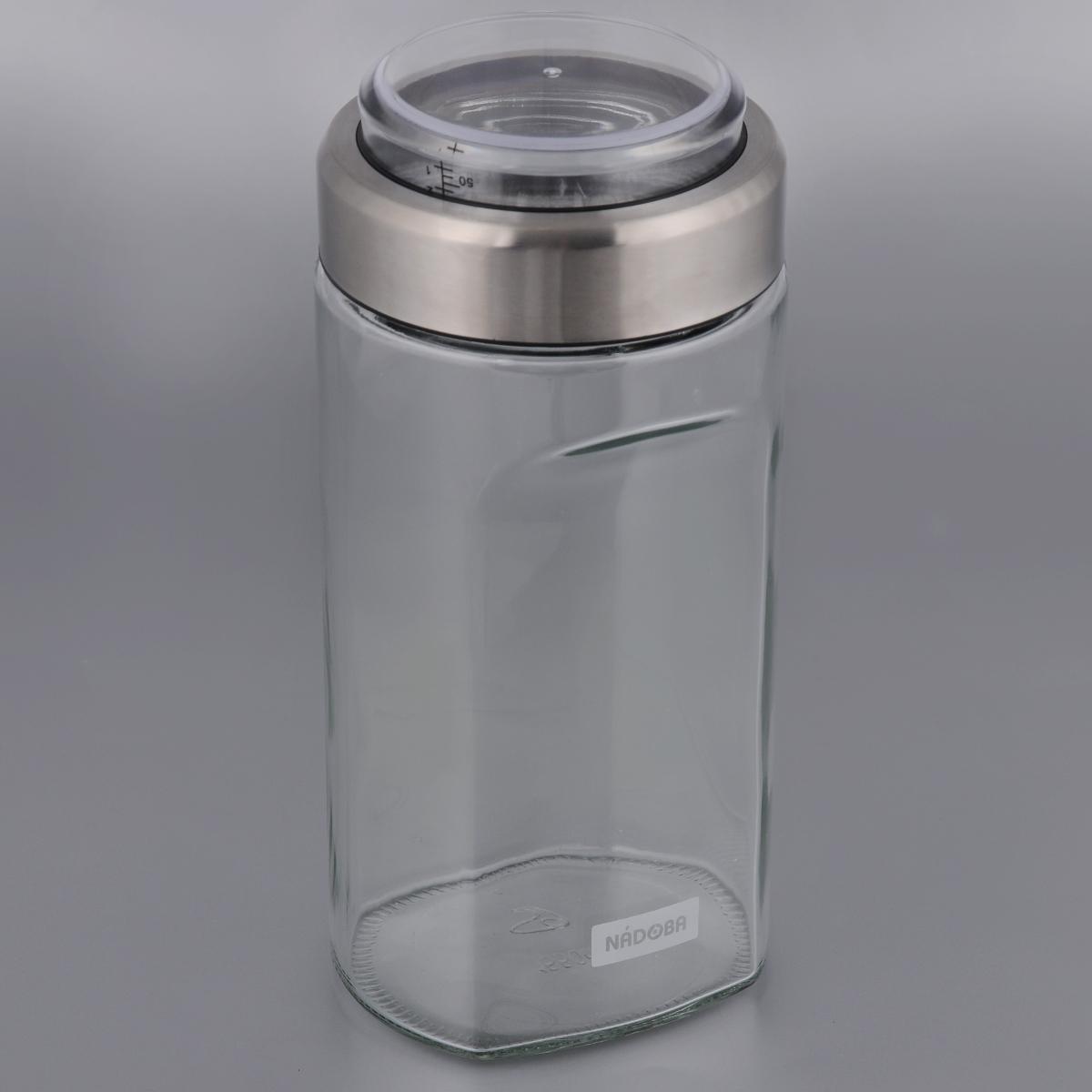 Емкость для сыпучих продуктов Nadoba Petra, с мерным стаканом, 2 л741010Емкость Nadoba Petra, изготовленная из высокопрочного стекла, оснащена мерным стаканом, который встроен в крышку. Благодаря эргономичному дизайну изделие удобно брать одной рукой.Стенки емкости прозрачные - хорошо видно, что внутри. Изделие идеально подходит для хранения различных сыпучих продуктов: круп, макарон, специй, кофе, сахара, орехов, кондитерских изделий и многого другого.Диаметр емкости (по верхнему краю): 10 см.Высота (без учета крышки): 27,5 см.