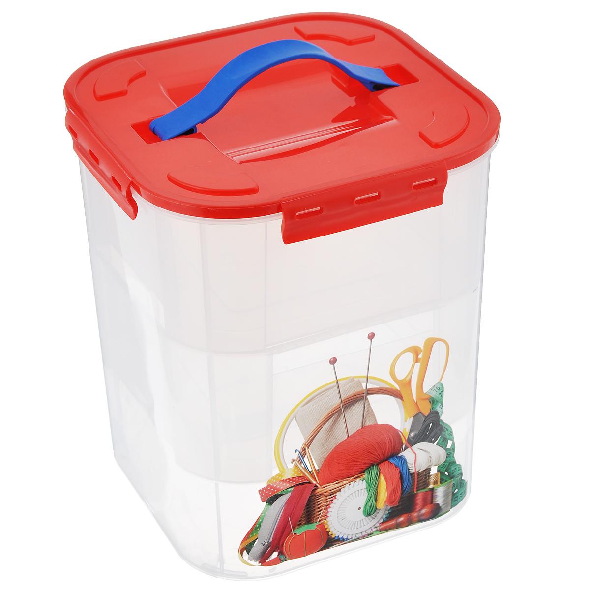 Контейнер для хранения Idea Деко. Рукоделие, с 2 вкладышами, 10 л контейнер для хранения idea деко бомбы 10 л