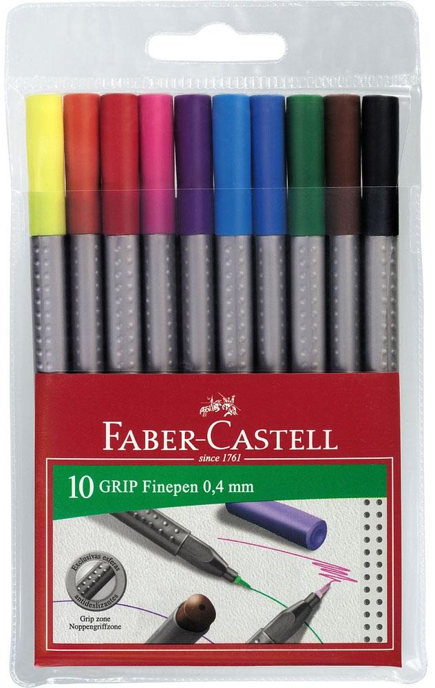 Капиллярная ручка GRIP, 0,4мм, набор цветов, в футляре, 10 шт.151610Вид ручки: капиллярная.Материал: пластик.